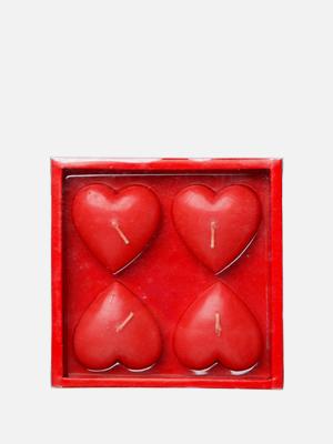 레드 하트 캔들 4개 빨강색 양초 - K427