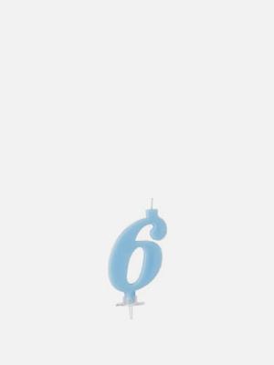 파티 숫자초 6 파랑 케이크 양초 - K407