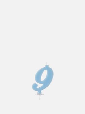 파티 숫자초 9 파랑 케이크 양초 - K410