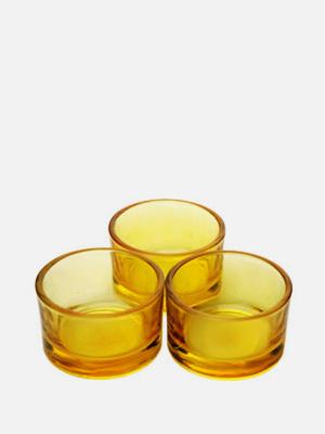 미니 티라이트 홀더 3개 노랑 - K603