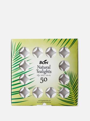 식물성 팜왁스 티라이트 50개 3시간 연소 무향 흰색 양초 - K203